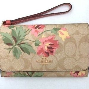 COACH F73373 Phone Wallet Signature C Pink Lily